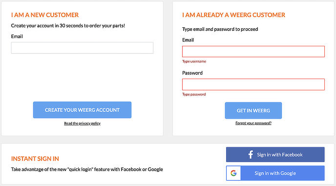 How do I register on the Weerg website?